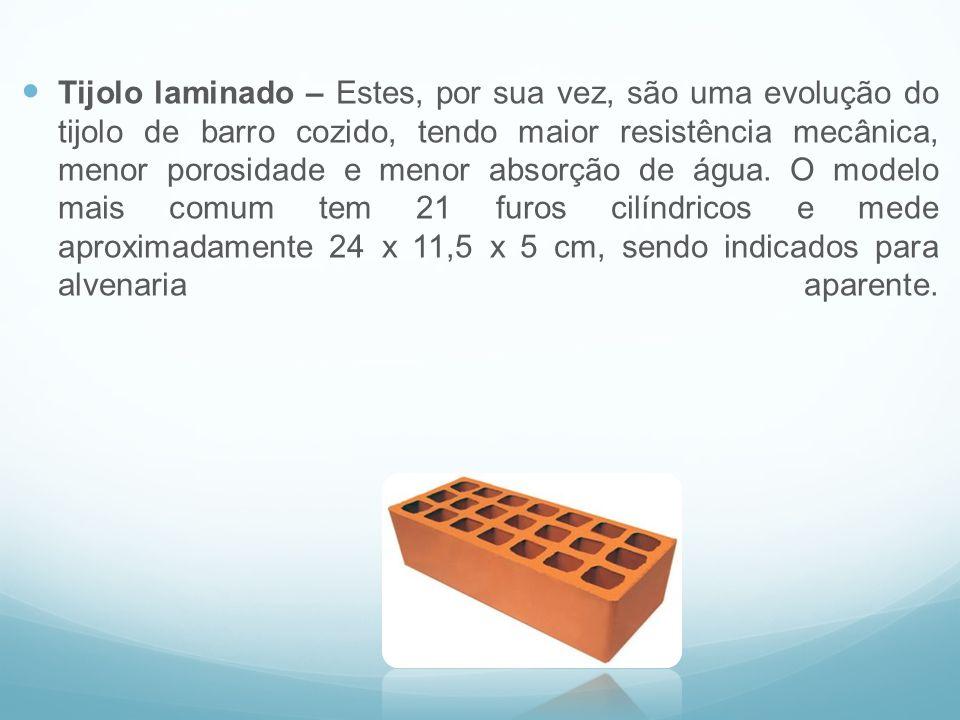 Tijolo laminado – Estes, por sua vez, são uma evolução do tijolo de barro cozido, tendo maior resistência mecânica, menor porosidade e menor absorção