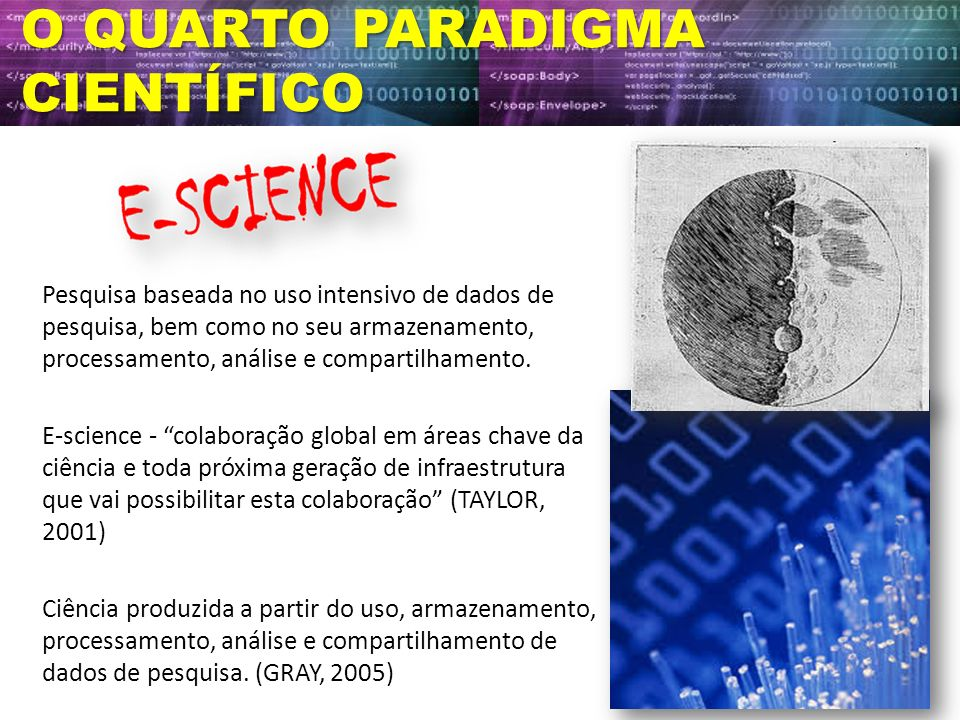 O QUARTO PARADIGMA CIENTÍFICO Pesquisa baseada no uso intensivo de dados de pesquisa, bem como no seu armazenamento, processamento, análise e comparti