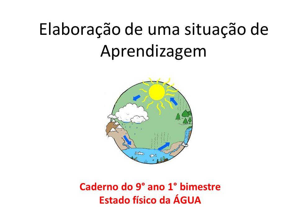 Elaboração de uma situação de Aprendizagem Caderno do 9° ano 1° bimestre Estado físico da ÁGUA