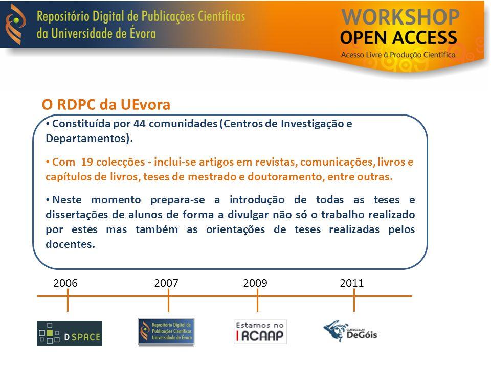 O RDPC da UEvora Constituída por 44 comunidades (Centros de Investigação e Departamentos). Com 19 colecções - inclui-se artigos em revistas, comunicaç