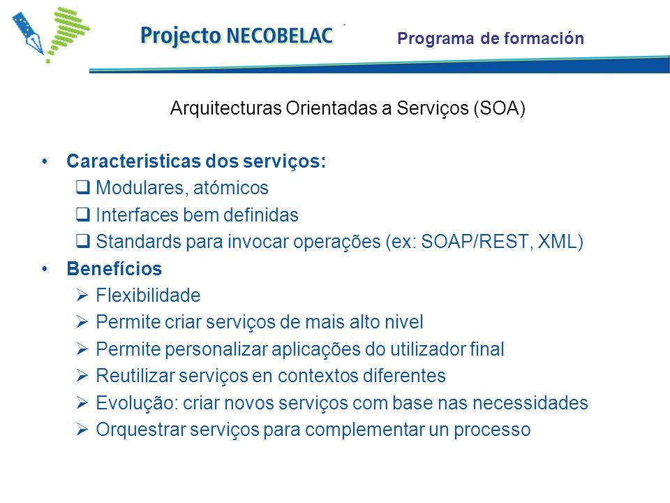 Programa de formación Caracteristicas dos serviços: Modulares, atómicos Interfaces bem definidas Standards para invocar operações (ex: SOAP/REST, XML)