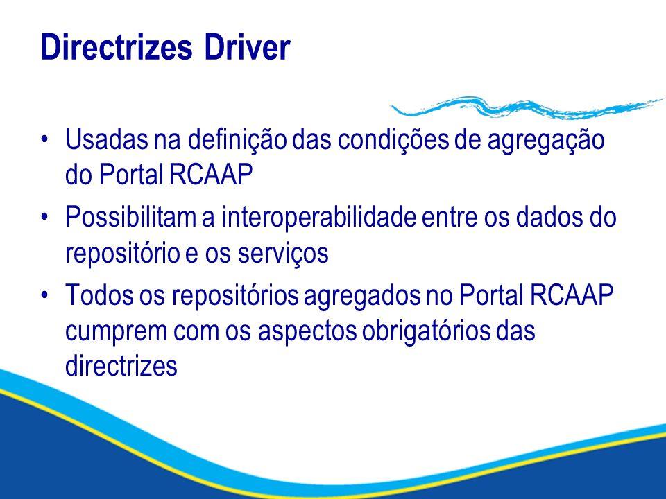 Directrizes Driver Usadas na definição das condições de agregação do Portal RCAAP Possibilitam a interoperabilidade entre os dados do repositório e os