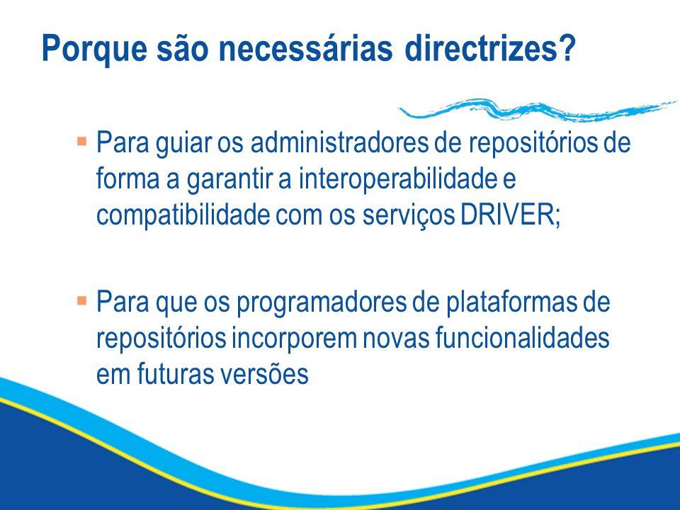 Porque são necessárias directrizes? Para guiar os administradores de repositórios de forma a garantir a interoperabilidade e compatibilidade com os se