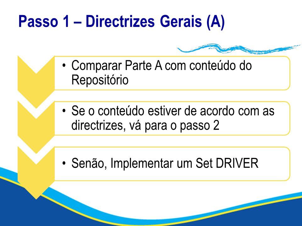 Passo 1 – Directrizes Gerais (A) Comparar Parte A com conteúdo do Repositório Se o conteúdo estiver de acordo com as directrizes, vá para o passo 2 Se