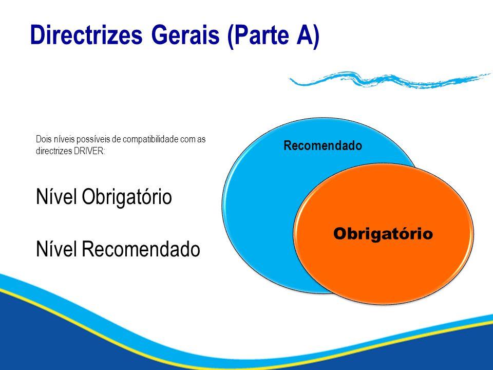 Directrizes Gerais (Parte A) Recomendado Obrigatório Dois níveis possíveis de compatibilidade com as directrizes DRIVER: Nível Obrigatório Nível Recom