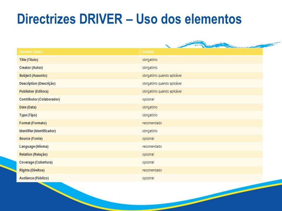 Directrizes DRIVER – Uso dos elementos Elemento básicoEstatuto Title (Título) obrigatório Creator (Autor) obrigatório Subject (Assunto) obrigatório qu