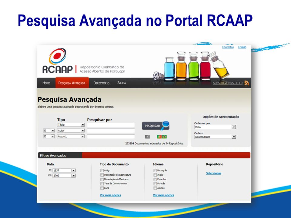 Pesquisa Avançada no Portal RCAAP