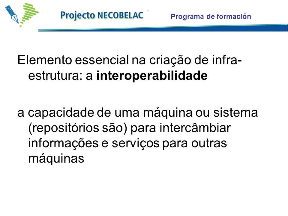 Programa de formación Elemento essencial na criação de infra- estrutura: a interoperabilidade a capacidade de uma máquina ou sistema (repositórios são