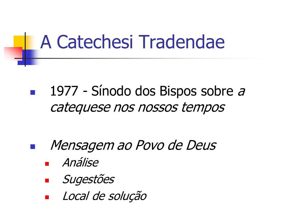 A Catechesi Tradendae 1977 - Sínodo dos Bispos sobre a catequese nos nossos tempos Mensagem ao Povo de Deus Análise Sugestões Local de solução