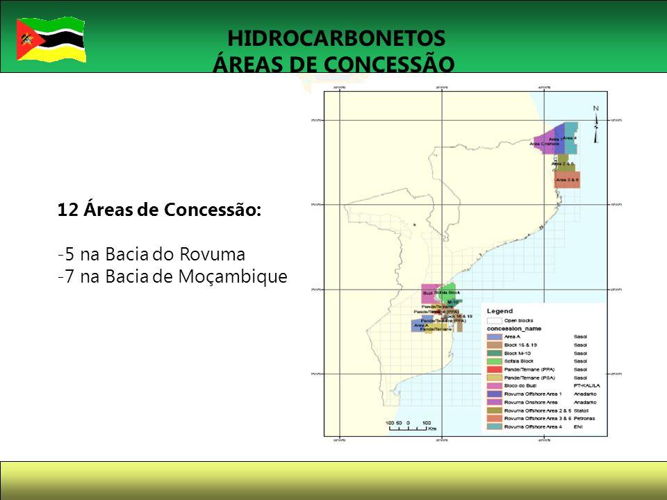 10 HIDROCARBONETOS ÁREAS DE CONCESSÃO 12 Áreas de Concessão: -5 na Bacia do Rovuma -7 na Bacia de Moçambique