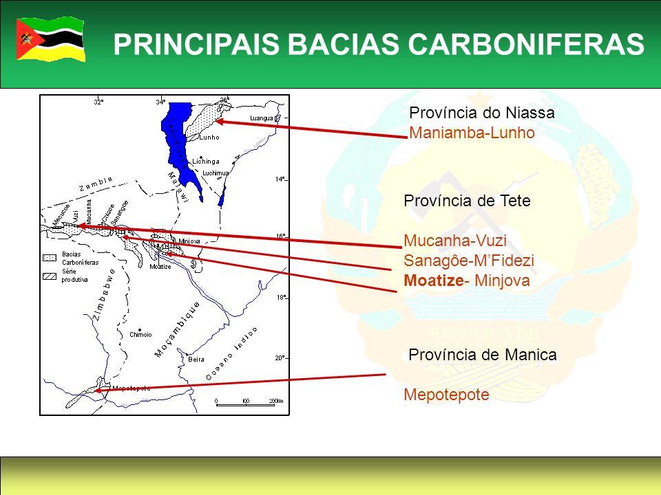 15 PRINCIPAIS BACIAS CARBONIFERAS Província do Niassa Maniamba-Lunho Província de Tete Mucanha-Vuzi Sanagôe-MFidezi Moatize- Minjova Província de Mani
