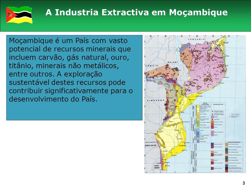 Moçambique é um País com vasto potencial de recursos minerais que incluem carvão, gás natural, ouro, titânio, minerais não metálicos, entre outros.