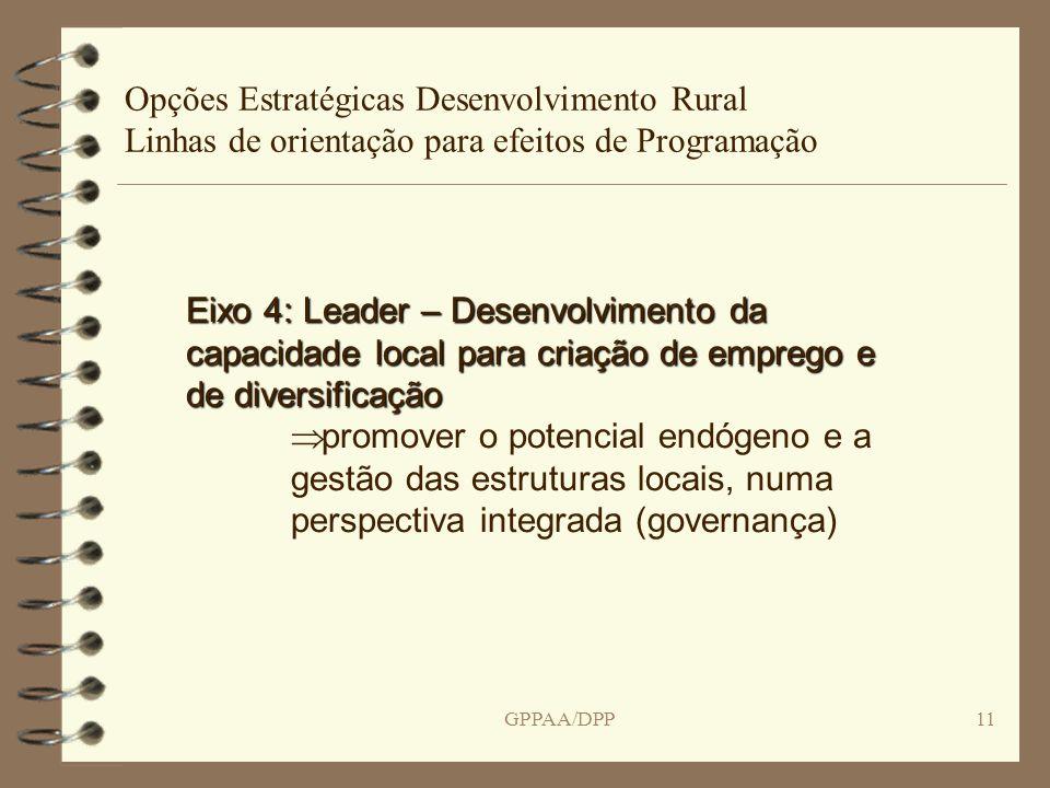 GPPAA/DPP11 Opções Estratégicas Desenvolvimento Rural Linhas de orientação para efeitos de Programação Eixo 4: Leader – Desenvolvimento da capacidade local para criação de emprego e de diversificação promover o potencial endógeno e a gestão das estruturas locais, numa perspectiva integrada (governança)