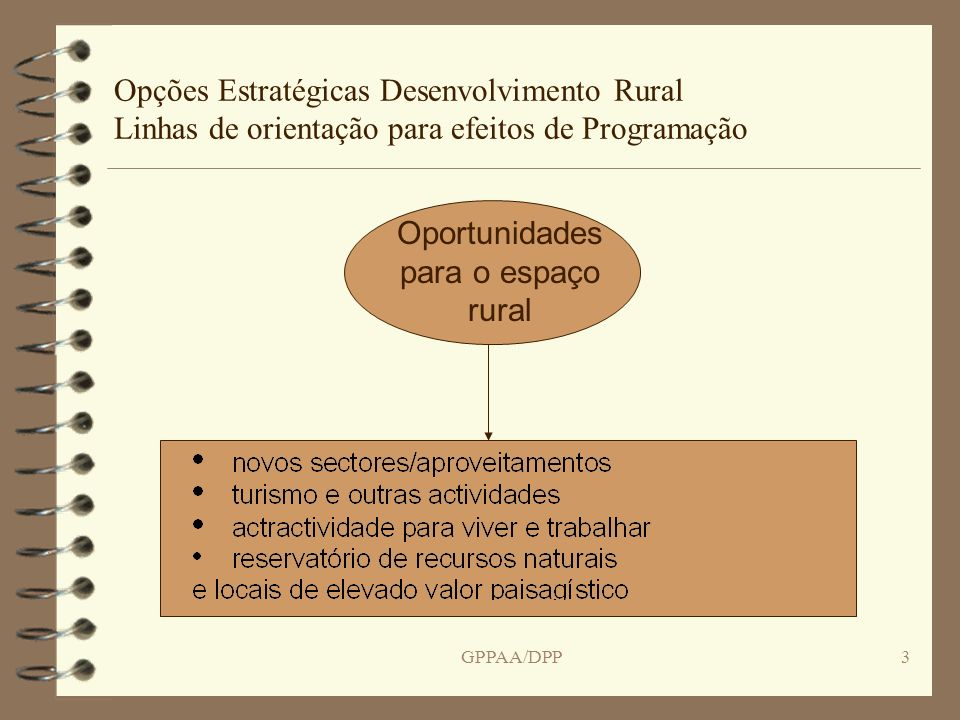 GPPAA/DPP14 Opções Estratégicas Desenvolvimento Rural Linhas de orientação para efeitos de Programação Complementaridade entre Fundos Criar as sinergias para dar coerência às acções financiadas pelo FEDER, FSE, Fundo Coesão e FEADER para um dado território ou actividade Plano Estratégico Nacional deve definir claramente as linhas de fronteira para a intervenção dos vários fundos e a sua coordenação infra-estruturas – a escala da infra-estrutura pode ser o princípio orientador para a repartição dos fundos, tal como as regiões e sub-regiões administrativas.
