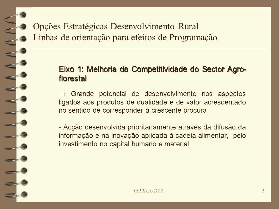 GPPAA/DPP6 Opções Estratégicas Desenvolvimento Rural Linhas de orientação para efeitos de Programação Eixo 1: Acções