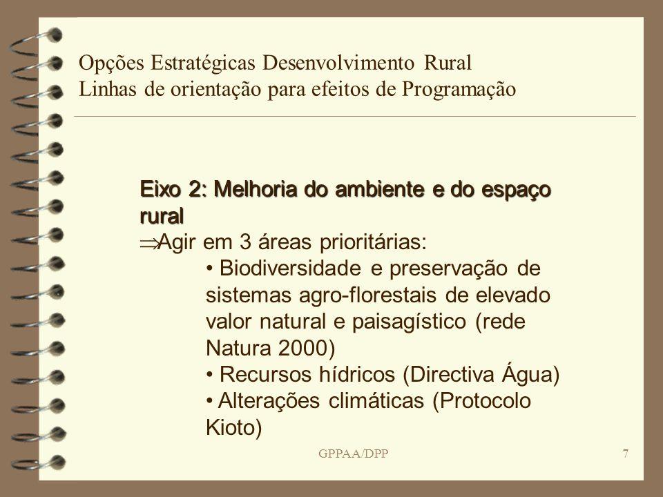 GPPAA/DPP7 Opções Estratégicas Desenvolvimento Rural Linhas de orientação para efeitos de Programação Eixo 2: Melhoria do ambiente e do espaço rural Agir em 3 áreas prioritárias: Biodiversidade e preservação de sistemas agro-florestais de elevado valor natural e paisagístico (rede Natura 2000) Recursos hídricos (Directiva Água) Alterações climáticas (Protocolo Kioto)