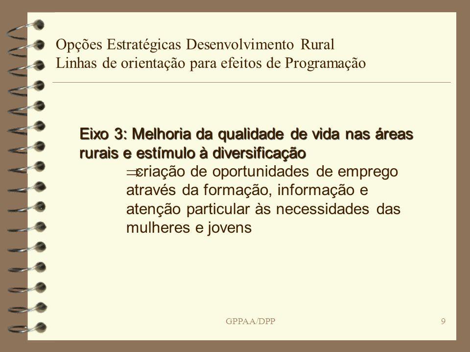 GPPAA/DPP10 Opções Estratégicas Desenvolvimento Rural Linhas de orientação para efeitos de Programação Eixo3: Acções