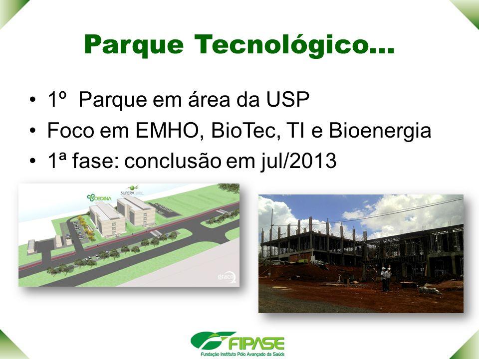 Parque Tecnológico... 1º Parque em área da USP Foco em EMHO, BioTec, TI e Bioenergia 1ª fase: conclusão em jul/2013