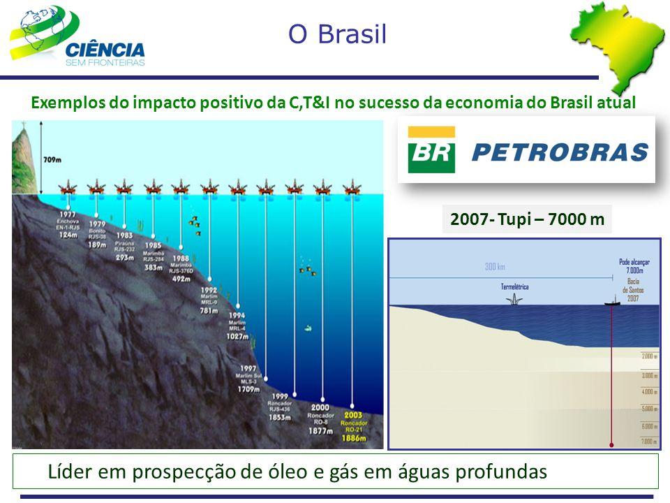 Líder em prospecção de óleo e gás em águas profundas 2007- Tupi – 7000 m Exemplos do impacto positivo da C,T&I no sucesso da economia do Brasil atual