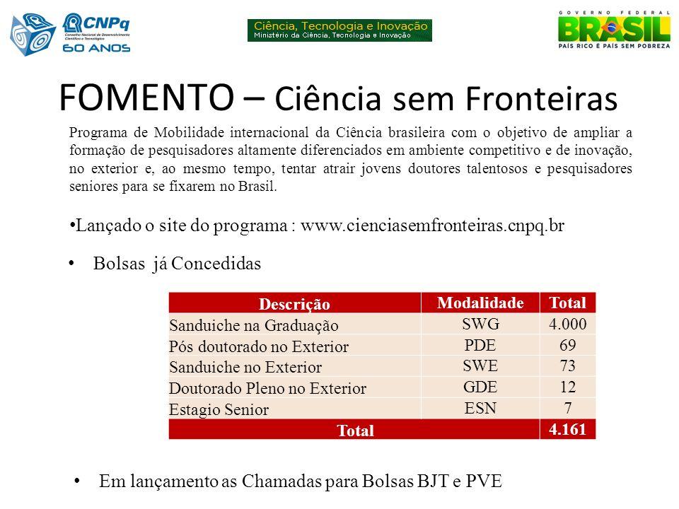 FOMENTO – Ciência sem Fronteiras Programa de Mobilidade internacional da Ciência brasileira com o objetivo de ampliar a formação de pesquisadores alta