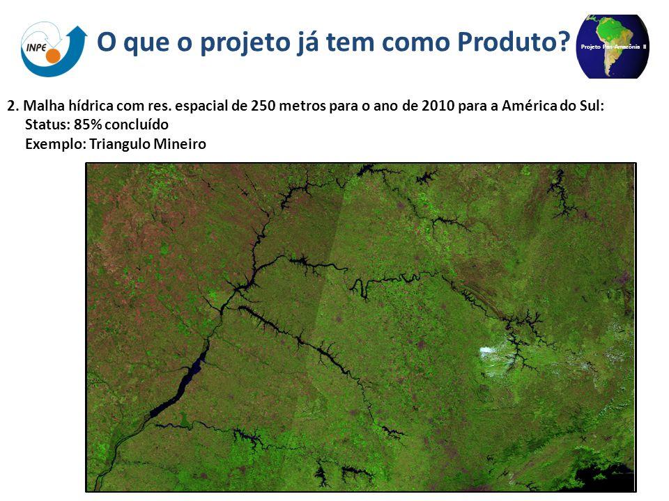 Projeto Pan-Amazônia II 2. Malha hídrica com res. espacial de 250 metros para o ano de 2010 para a América do Sul: Status: 85% concluído Exemplo: Tria