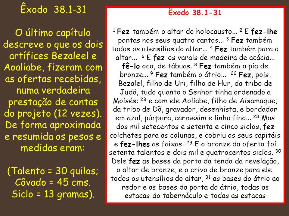Êxodo 38.1-31 1 Fez também o altar do holocausto... 2 E fez-lhe pontas nos seus quatro cantos... 3 Fez também todos os utensílios do altar... 4 Fez ta
