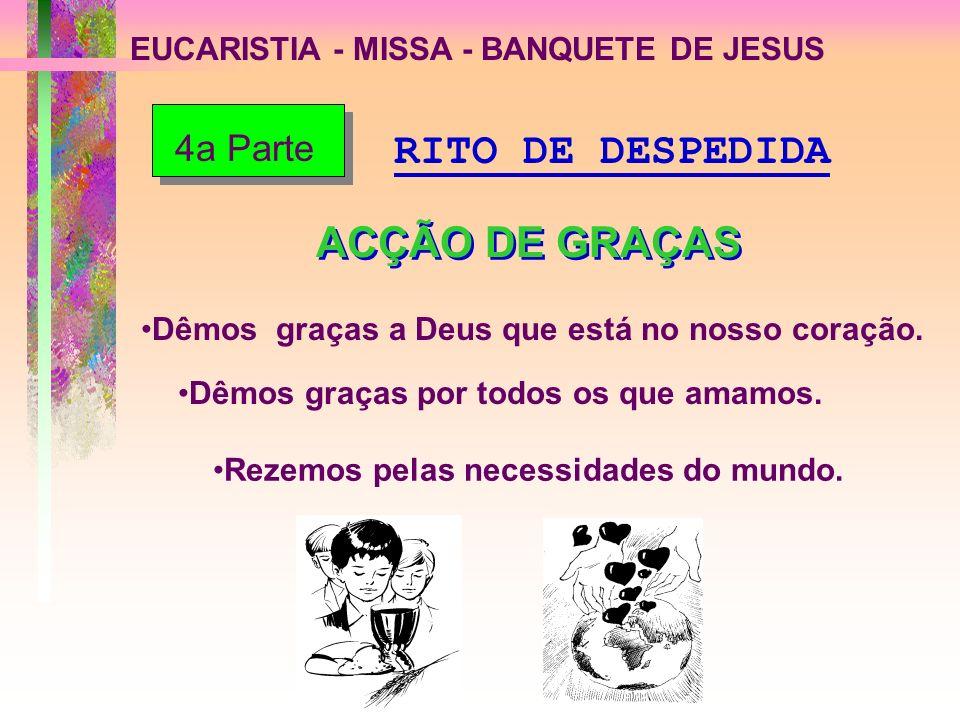 EUCARISTIA - MISSA - BANQUETE DE JESUS Dêmos graças a Deus que está no nosso coração. Dêmos graças por todos os que amamos. Rezemos pelas necessidades