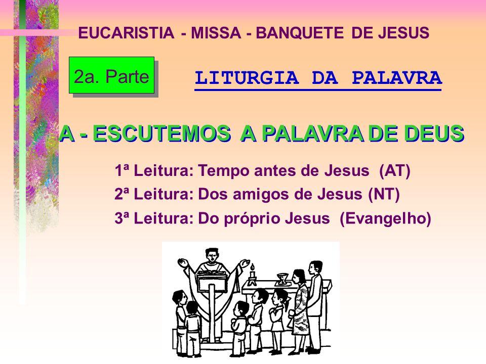 EUCARISTIA - MISSA - BANQUETE DE JESUS A - ESCUTEMOS A PALAVRA DE DEUS 2a. Parte 1ª Leitura: Tempo antes de Jesus (AT) 2ª Leitura: Dos amigos de Jesus