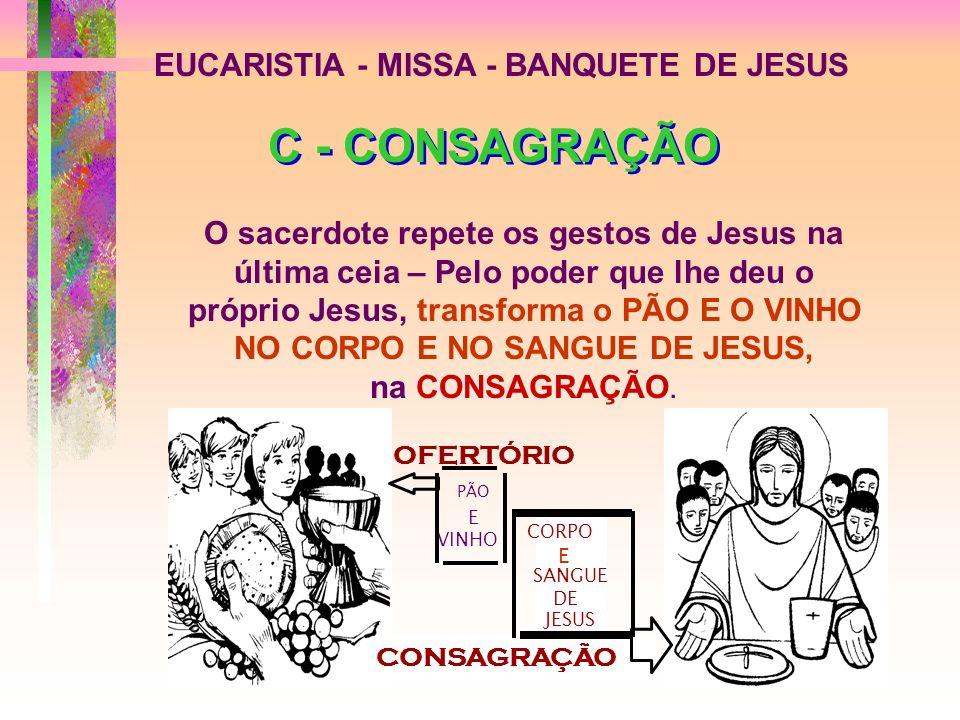 EUCARISTIA - MISSA - BANQUETE DE JESUS OFERTÓRIO CONSAGRAÇÃO CORPO E SANGUE DE JESUS PÃO E VINHO C - CONSAGRAÇÃO C - CONSAGRAÇÃO O sacerdote repete os gestos de Jesus na última ceia – Pelo poder que lhe deu o próprio Jesus, transforma o PÃO E O VINHO NO CORPO E NO SANGUE DE JESUS, na CONSAGRAÇÃO.