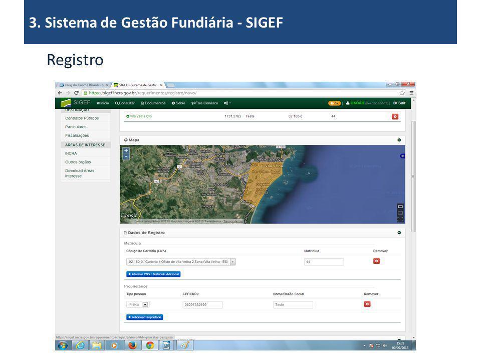 3. Sistema de Gestão Fundiária - SIGEF Registro