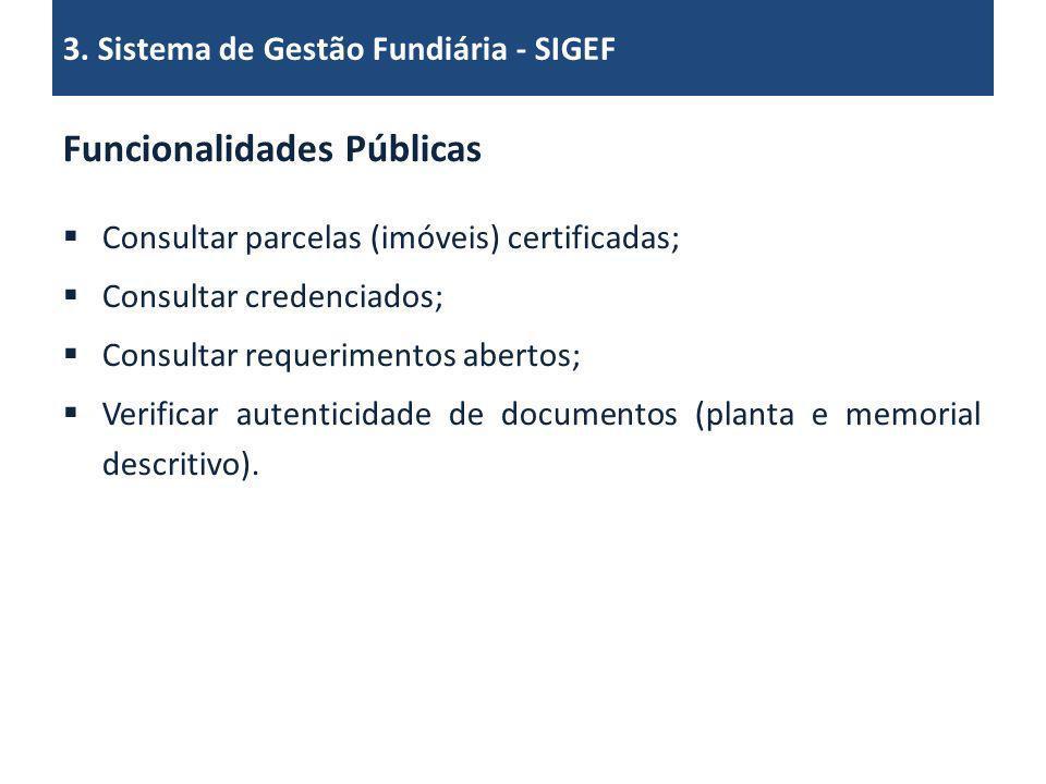 Funcionalidades Públicas Consultar parcelas (imóveis) certificadas; Consultar credenciados; Consultar requerimentos abertos; Verificar autenticidade d