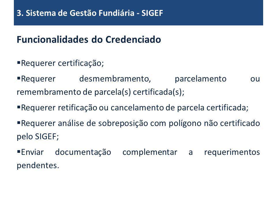 Funcionalidades do Credenciado Requerer certificação; Requerer desmembramento, parcelamento ou remembramento de parcela(s) certificada(s); Requerer re