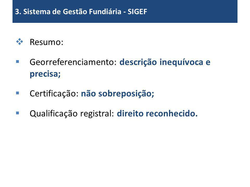 Resumo: Georreferenciamento: descrição inequívoca e precisa; Certificação: não sobreposição; Qualificação registral: direito reconhecido. 3. Sistema d
