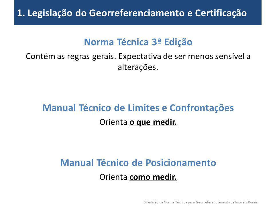 3ª edição da Norma Técnica para Georreferenciamento de Imóveis Rurais 2. Objetivos 1. Legislação do Georreferenciamento e Certificação Norma Técnica 3