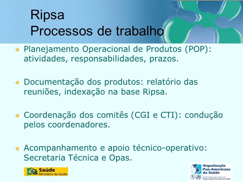 Ripsa Processos de trabalho Planejamento Operacional de Produtos (POP): atividades, responsabilidades, prazos. Documentação dos produtos: relatório da