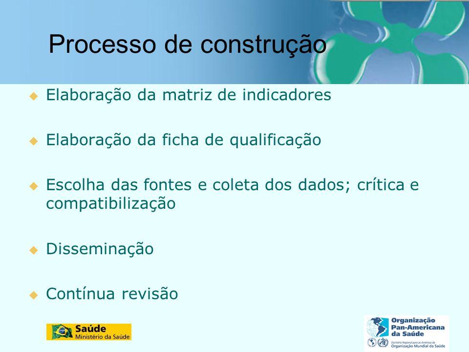 Processo de construção Elaboração da matriz de indicadores Elaboração da ficha de qualificação Escolha das fontes e coleta dos dados; crítica e compat
