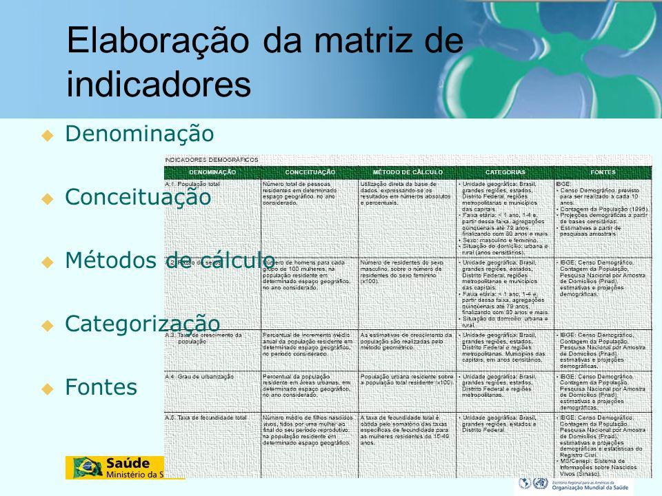 Elaboração da matriz de indicadores Denominação Conceituação Métodos de cálculo Categorização Fontes