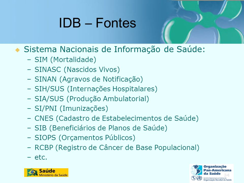 34 IDB – Fontes Sistema Nacionais de Informação de Saúde: –SIM (Mortalidade) –SINASC (Nascidos Vivos) –SINAN (Agravos de Notificação) –SIH/SUS (Internações Hospitalares) –SIA/SUS (Produção Ambulatorial) –SI/PNI (Imunizações) –CNES (Cadastro de Estabelecimentos de Saúde) –SIB (Beneficiários de Planos de Saúde) –SIOPS (Orçamentos Públicos) –RCBP (Registro de Câncer de Base Populacional) –etc.