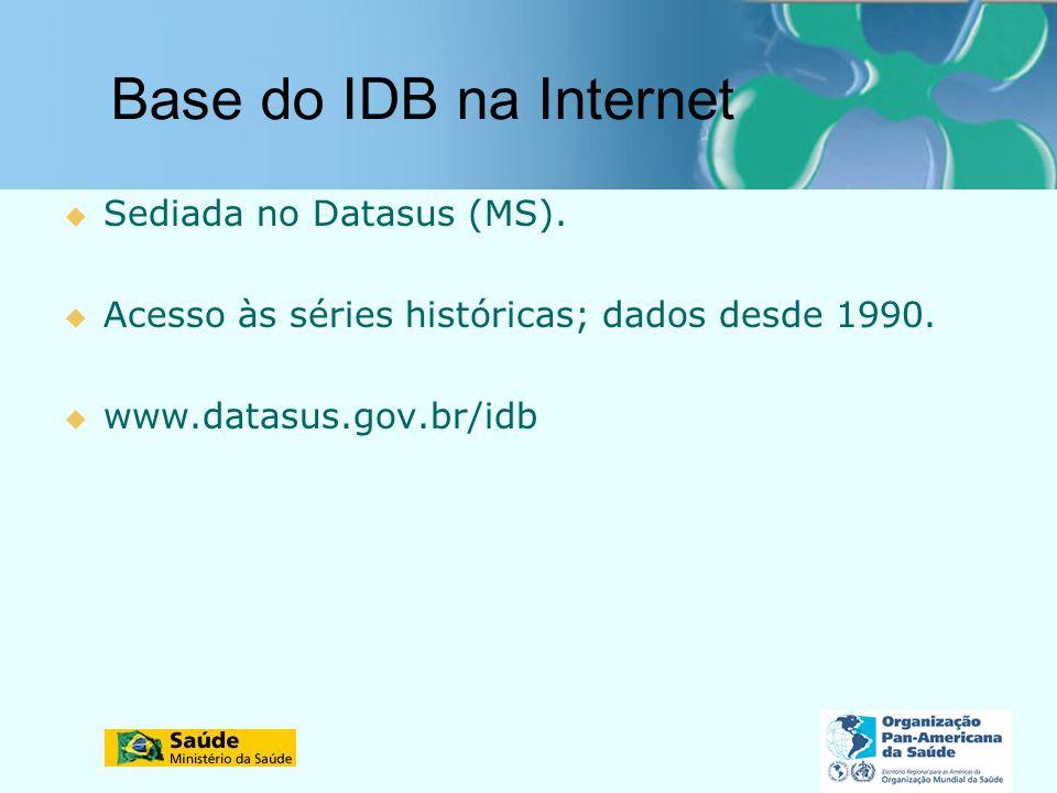 Base do IDB na Internet Sediada no Datasus (MS). Acesso às séries históricas; dados desde 1990. www.datasus.gov.br/idb