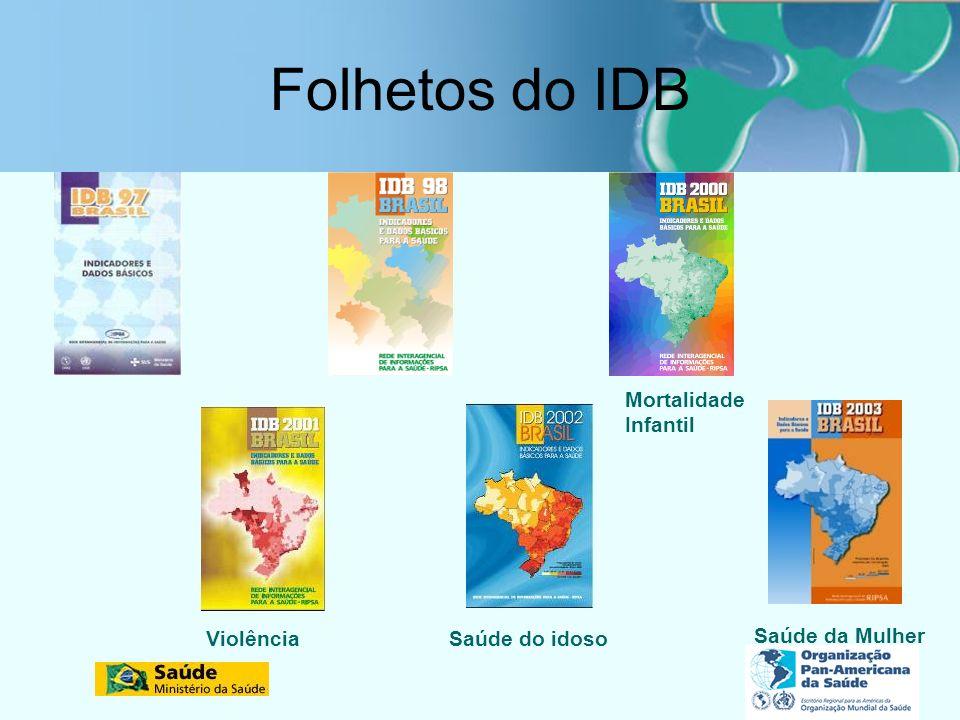Folhetos do IDB ViolênciaSaúde do idoso Saúde da Mulher Mortalidade Infantil