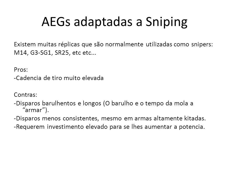 AEGs adaptadas a Sniping Existem muitas réplicas que são normalmente utilizadas como snipers: M14, G3-SG1, SR25, etc etc... Pros: -Cadencia de tiro mu