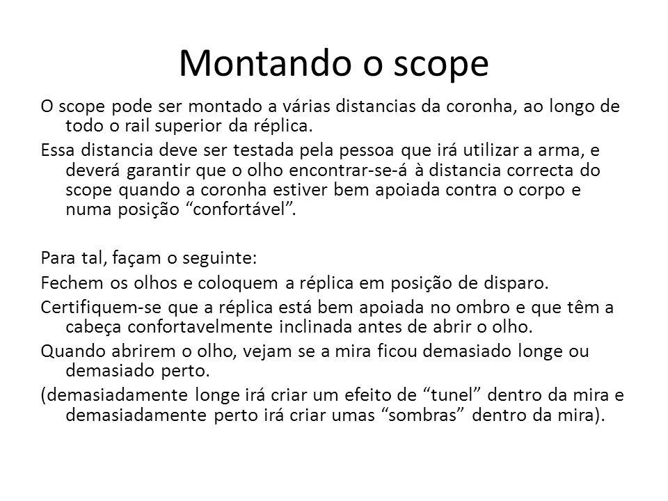 Montando o scope O scope pode ser montado a várias distancias da coronha, ao longo de todo o rail superior da réplica. Essa distancia deve ser testada