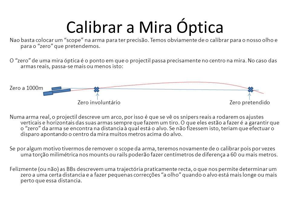 Calibrar a Mira Óptica Nao basta colocar um scope na arma para ter precisão. Temos obviamente de o calibrar para o nosso olho e para o zero que preten