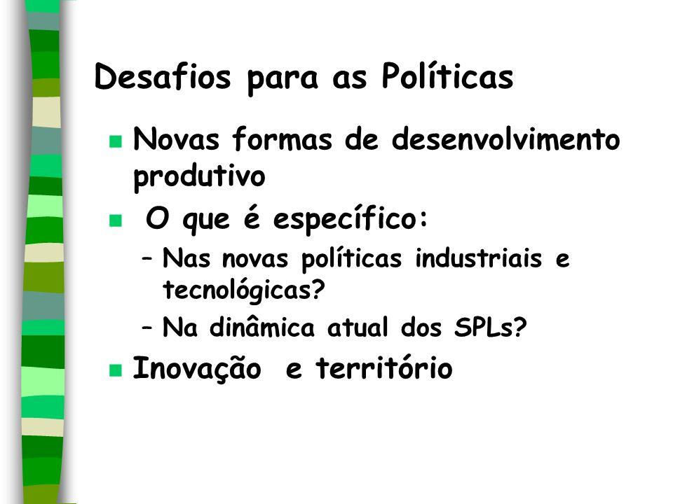 Desafios para as Políticas n Novas formas de desenvolvimento produtivo n O que é específico: –Nas novas políticas industriais e tecnológicas? –Na dinâ