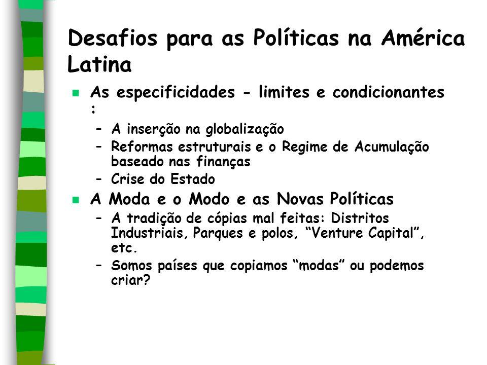 Desafios para as Políticas na América Latina n As especificidades - limites e condicionantes : –A inserção na globalização –Reformas estruturais e o R