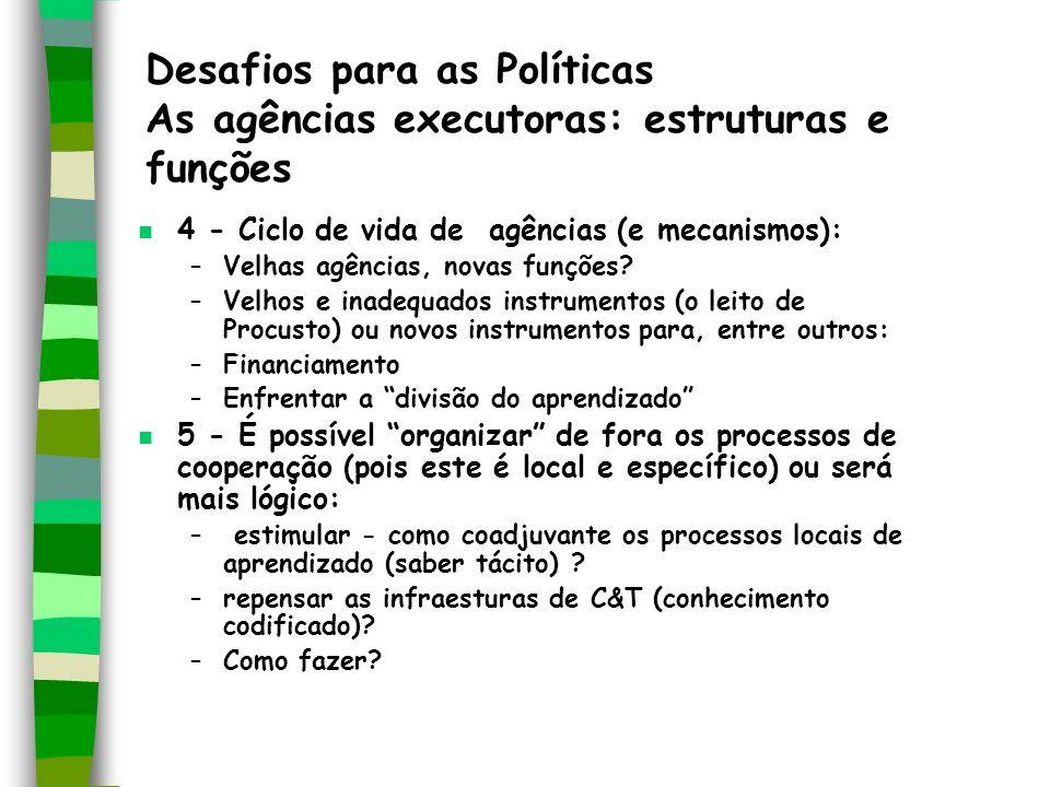 Desafios para as Políticas As agências executoras: estruturas e funções n 4 - Ciclo de vida de agências (e mecanismos): –Velhas agências, novas funçõe
