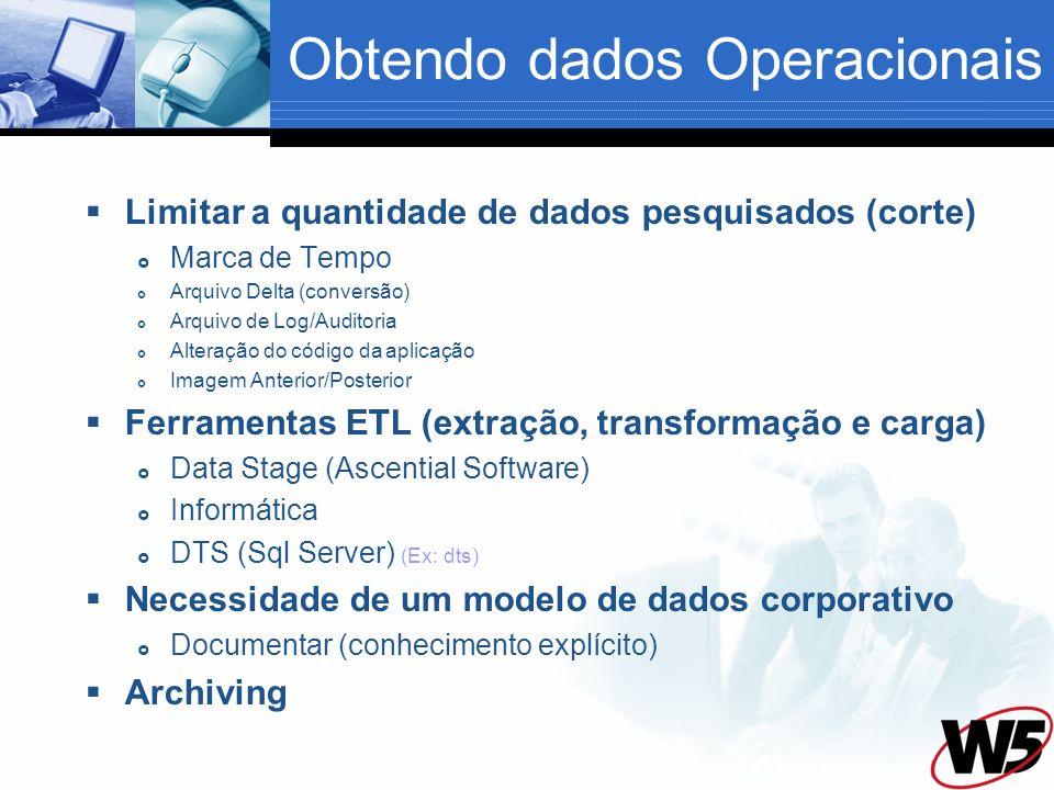Obtendo dados Operacionais Limitar a quantidade de dados pesquisados (corte) Marca de Tempo Arquivo Delta (conversão) Arquivo de Log/Auditoria Alteraç