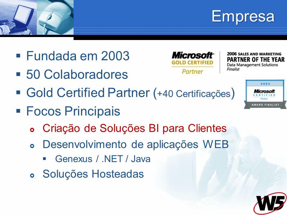 Empresa Fundada em 2003 50 Colaboradores Gold Certified Partner ( +40 Certificações ) Focos Principais Criação de Soluções BI para Clientes Desenvolvi