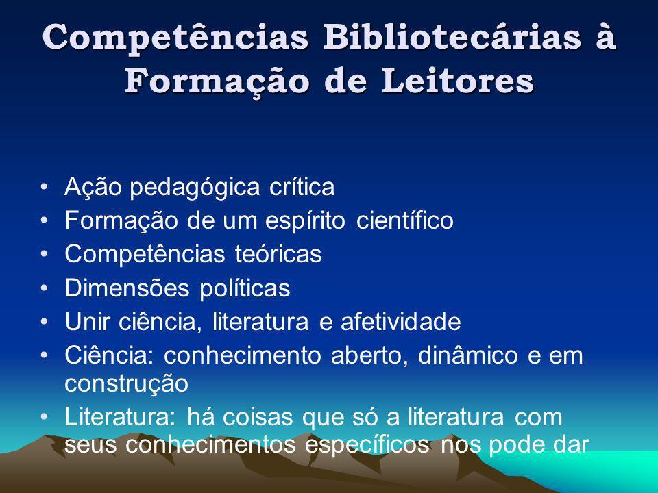 Competências Bibliotecárias à Formação de Leitores Ação pedagógica crítica Formação de um espírito científico Competências teóricas Dimensões política