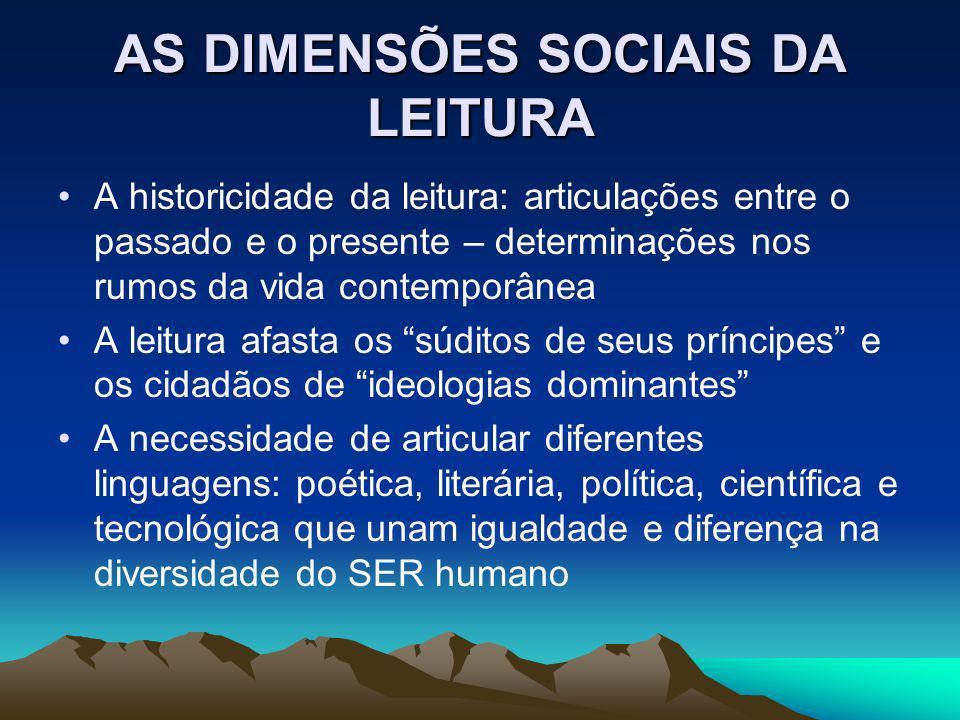AS DIMENSÕES SOCIAIS DA LEITURA A historicidade da leitura: articulações entre o passado e o presente – determinações nos rumos da vida contemporânea